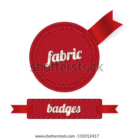 Red vector fabric badges with red ribbons - stock vector