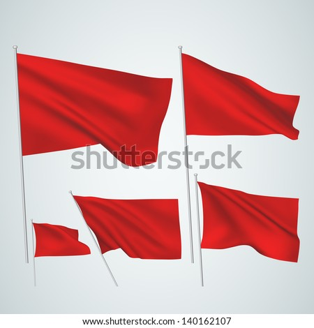 Red vector flags. A set of 5 wavy 3D flags created using gradient meshes. EPS 8 vector - stock vector