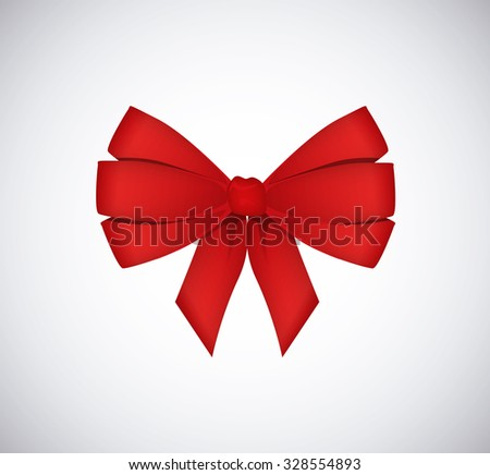 Red vector gift bow and ribbon isolated. - stock vector