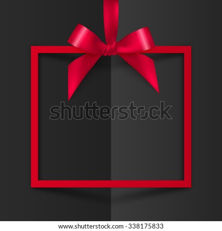 Red vector gift box frame with silky bow and ribbon on black folded paper background - stock vector