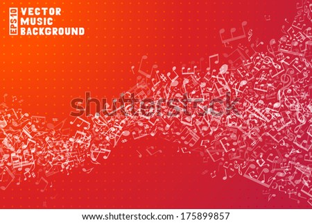 Red vector music background. Set of white music elements on red background. Music abstract wave of notes and treble clefs. - stock vector