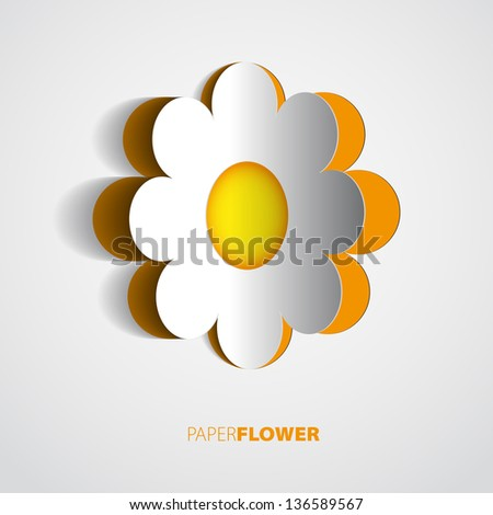 Red Vector paper flower - greeting card - stock vector