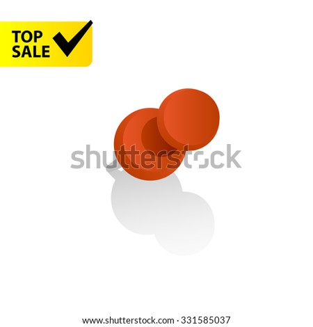 Red vector pin icon with shadow - stock vector