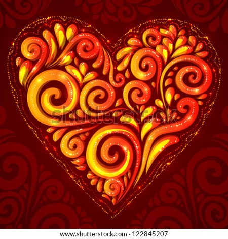 Red vector shining heart in Hohloma style on dark-red ornate background - stock vector