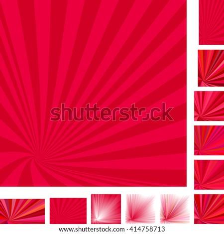 Red vector vortex design background set. Different color, gradient, screen, paper size versions. - stock vector