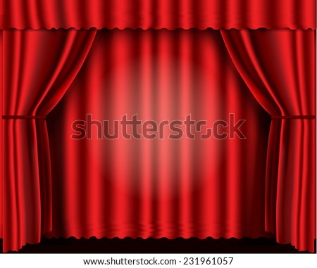 Red velvet theater curtains vector illustration - stock vector