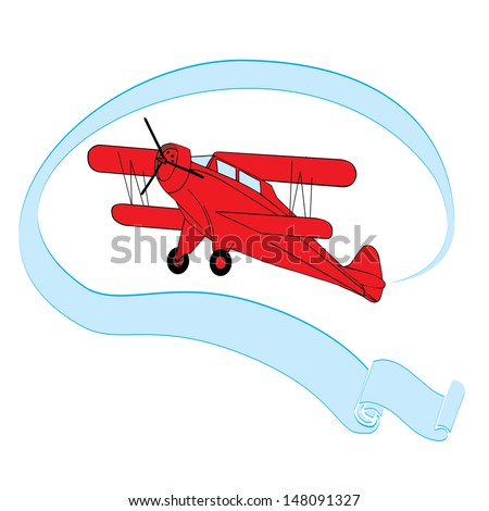 Red vintage airplane with blue banner on simple white background - stock vector