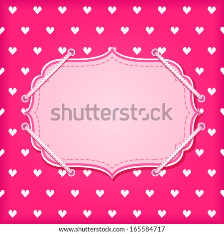 Red Vintage Card with White Hearts and Label Blank Space for Valentine Day - stock vector