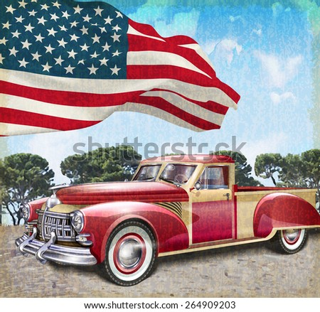 Red vintage pick up truck with American flag. - stock vector