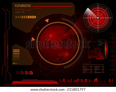 red virtual graphic touch user hologram interface - stock vector