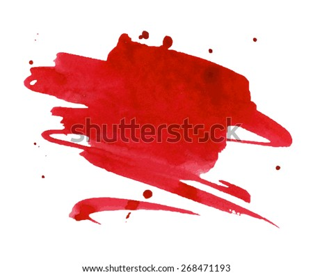 Red watercolor stain with aquarelle paint blotch - stock vector