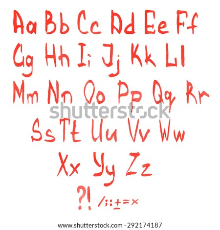 Red watercolor vector hand-written font - stock vector