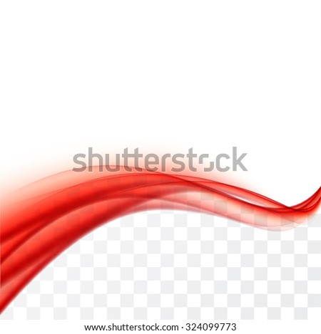 Red wave background with transparent and white areas - stock vector