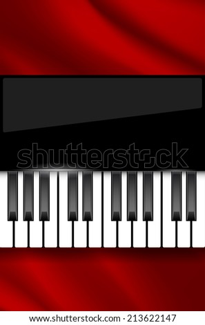 Red wavy fabric and piano keyboard - background for music poster with place for text. Vector illustration. - stock vector