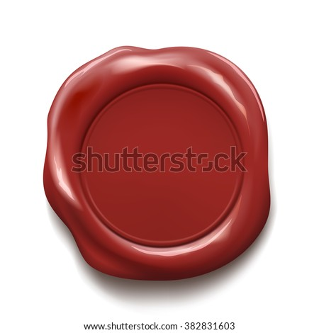 Red wax seal isolated on white background. Stock vector illustration. - stock vector