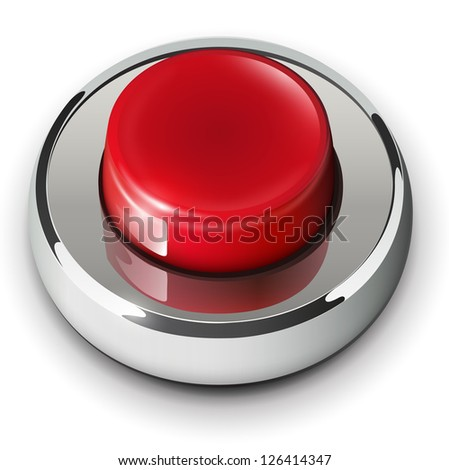 Red web button, 3D chrome metallic. - stock vector