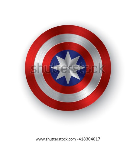 Red, white and blue colored shield with a star symbolizing independence of America. Comics shield - stock vector