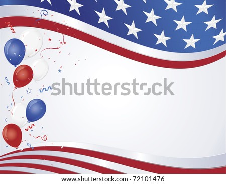 Red white and blue flag wave with party balloons - stock vector