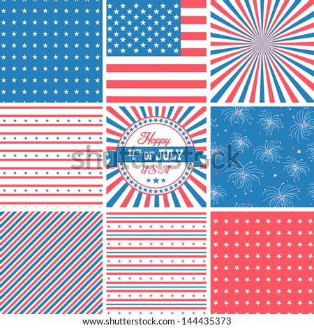 Red White And Blue, stars and stripes - USA backgrounds - stock vector