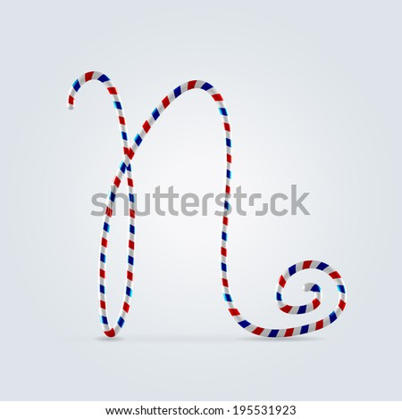 Red white and blue striped font abc capital letter N - stock vector
