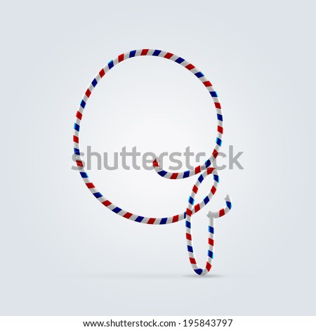 Red white and blue striped font abc capital letter Q - stock vector