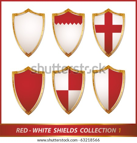red-white shields collection, vector illustration - stock vector
