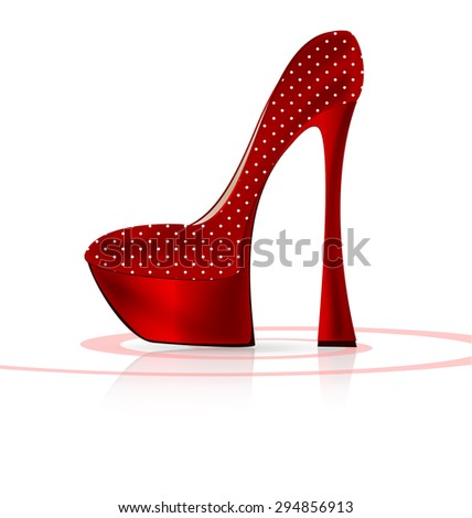 red-white shoe - stock vector