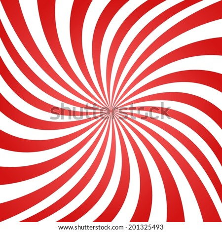 Red white summer spiral ray pattern background - vector version - stock vector