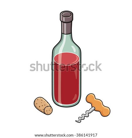 Red wine bottle, a corkscrew and a cork. - stock vector