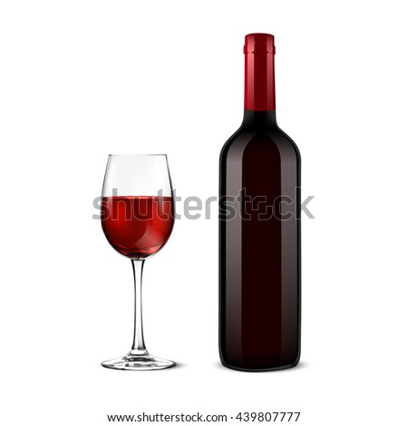 Red Wine bottle and glass on white background - stock vector