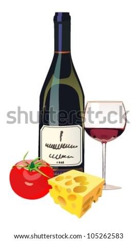 Red wine, cheese, tomato - stock vector