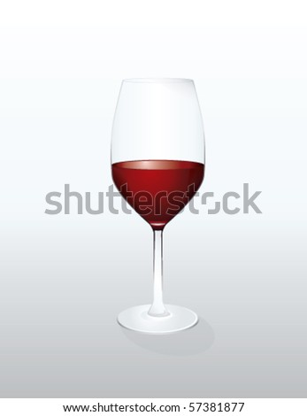 Red wine glass, vector - stock vector