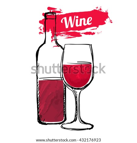Red Wine Hand Drawn Vector illustration - stock vector