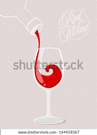Red wine splash. Vector illustration - stock vector