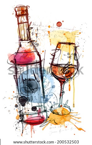 Red Wine Water Color - stock vector