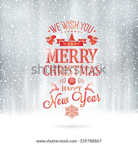 Red Wishing you a very Merry Christmas and Happy New Year lettering on a magical silver backdrop with snowfall and light effects. - stock vector