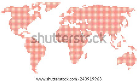 red world map - stock vector