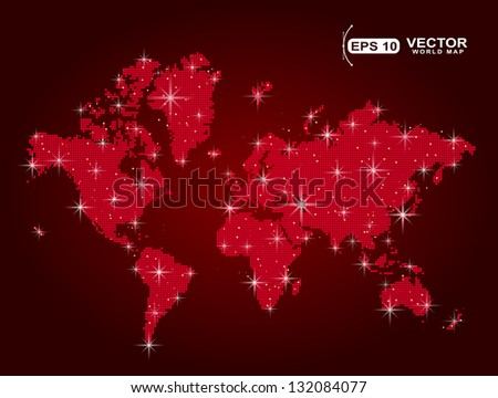 red world map in points with spot lights effect sample - stock vector