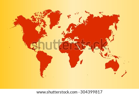 red world map. vector illustration - stock vector