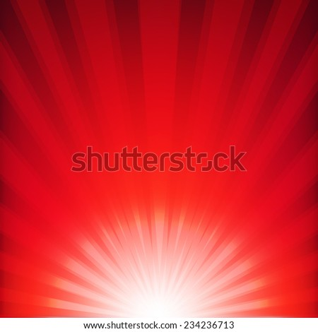 Red Xmas Burst Poster With Gradient Mesh, Vector Illustration - stock vector