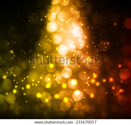 red yellow Defocused Light, Flickering Lights, Vector abstract festive background with bokeh defocused lights.  - stock vector