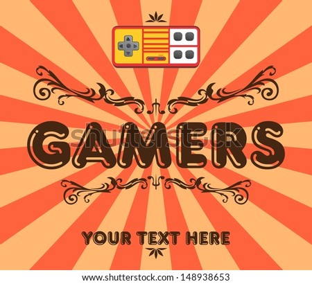red yellow game console vintage - stock vector