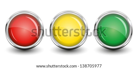 Red, Yellow, Green glossy round buttons with shadow. Vector Illustration. EPS8. AI - stock vector