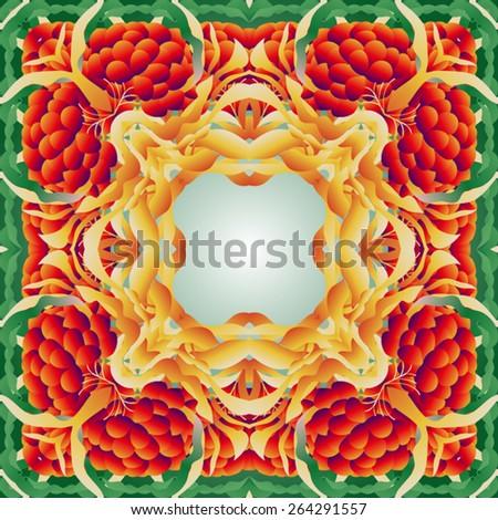 Red-yellow-green tile ornament-mandala. - stock vector