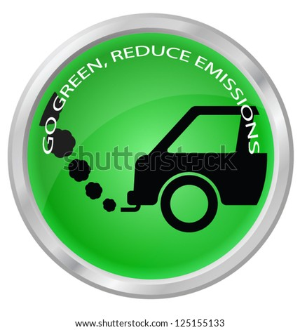 Reduce carbon emissions car button isolated on white background - stock vector