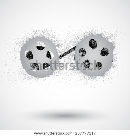 Reel of film in grunge style - stock vector