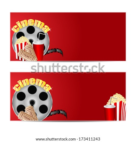reel of film with popcorn and a drink on a red  background.set backgrounds for cinema.vector - stock vector