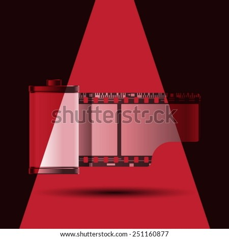 reel of 35 mm photo film with red light - stock vector