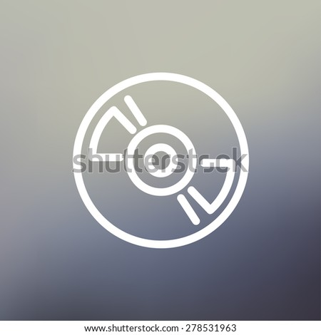 Reel tape deck player recorder icon thin line for web and mobile, modern minimalistic flat design. Vector white icon on gradient mesh background. - stock vector
