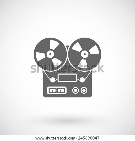 Reel tape recorder icon - stock vector